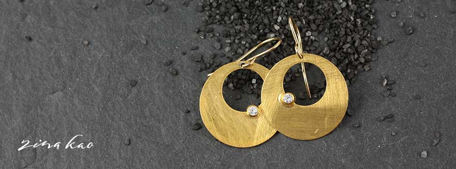 Brushed Disc and CZ Earrings