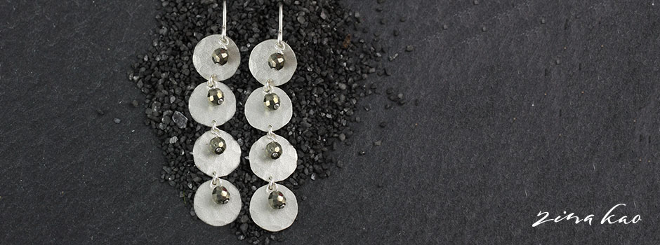 Frosted Disc and Pyrite Earrings
