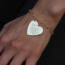 Engraved Heart Tattoo Bracelet: Dbl Banner