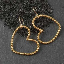 Large Beaded Heart Earrings