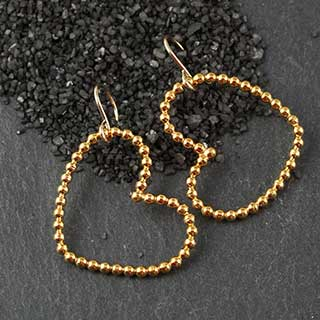Large Beaded Heart Earrings (e-bbhl)