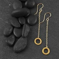 Linked Brushed Ring Drop Earring