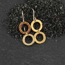 2 Linked Brushed Ring Earring