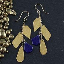 4 Crazy Cut Chain Earrings: Lapis/Metal