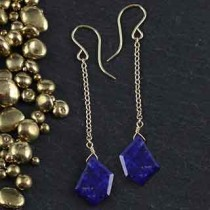Crazy Cut Chain Earrings: Lapis