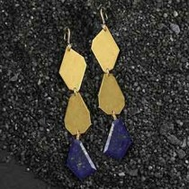 3 Crazy Cut Earrings: Lapis/Metal