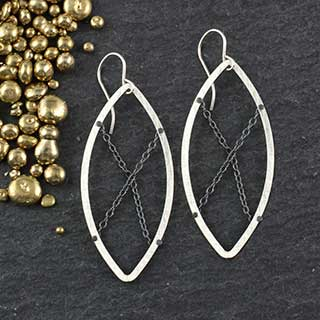 Chain Ring Marquise Earring (e-crm3)