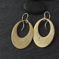 Punched out Oval w/ Flushet CZ Earrings