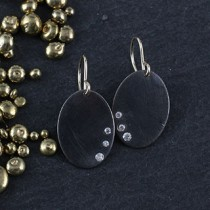 Vertical Oval w/ Flushset CZ Earrings
