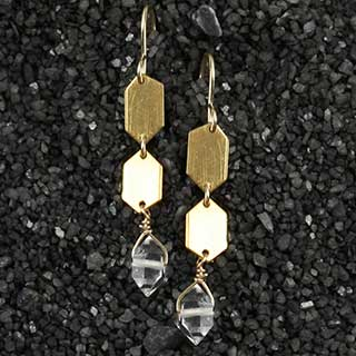 Small Diamond Point and Herkimer Earring (e-dh03)