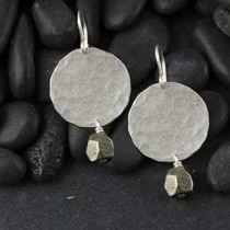 Frosted Disc and Pyrite Nugget Earring