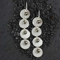 Four Frosted Disc and Pyrite Rondelle Earring