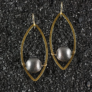 Flat Marquise and Bead Earring (e-fm4b)