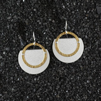 Small Layered Trimmed Disc and Ring Earring