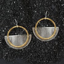 Large Layered Sliced Disc and Ring Earring