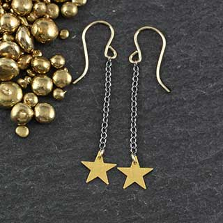 Small Star Drop Earring (e-fss1)