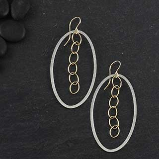 Large Inside Chain Oval Earring (e-fv17)