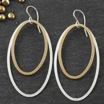 Double Flat Oval Earrings (LG)
