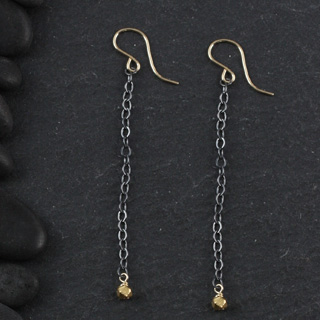 Single Faceted Nugget Chain Earring (e-fx01)