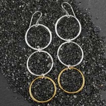 Three Small Hammered Ring Earrings