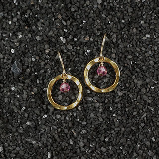 Hammered Ring and Rondelle Earring (e-k050)