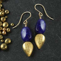 Double Point Lapis and Gold Earring