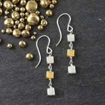 Triple Microcube Earring