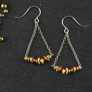 Chain and Rustic Nugget Swing Earring (e-nuf8)