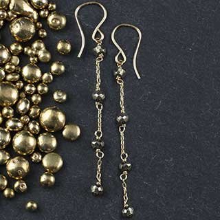 4 Tiny Pyrite And Chain Earring (e-pyt4)