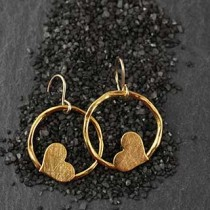 Lg Twiggy Ring with Heart Earrings