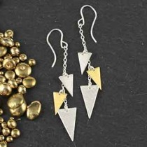 Three Mixed Triangle Chain Earring