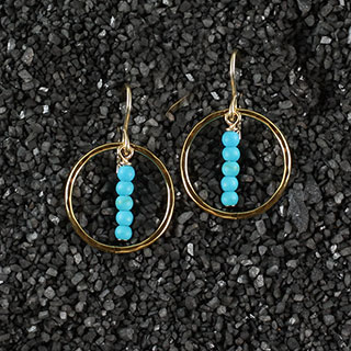 Hammered Ring and Turquoise Stick Earring (e-tq02)