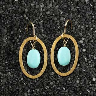 Flat Oval with Turquoise Pebble Earring (e-tq2o)