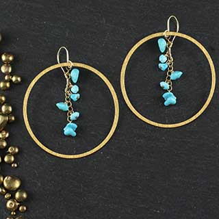 Ring and Chain Chip Drop Earring (e-tqc8)