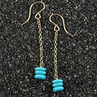 Flat Rondelle Chain Drop Earring (e-tqd3)
