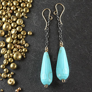 Large Turquoise Drop Earring (e-tql1)