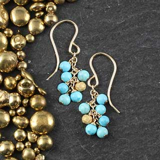Cluster Earrings: Turquoise & Gold (e-tqr9)