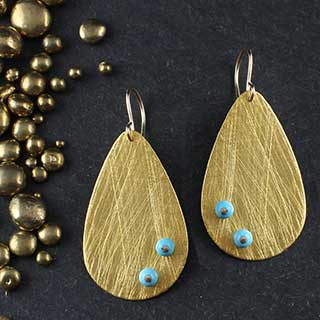 Large Teardrop with Turquoise Studs Earring (e-tqt4)