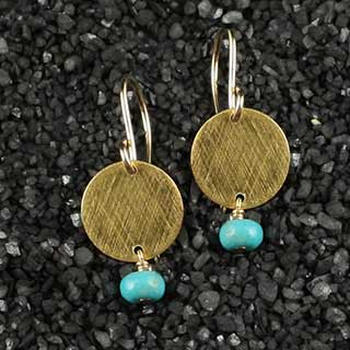 Baby Flat Disc Earring with Turquoise (e-tqz2)