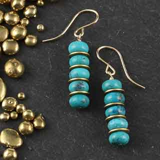 Turquoise Bead and Disc Earring (e-tqz6)