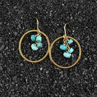 Multi Turquoise Bead and Small Ring Earring (e-tqz8)