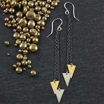 2Chain Triangle Drop Earring