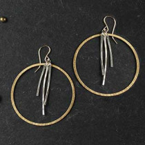 Three Thin Hammered Sticks with Ring Earrings