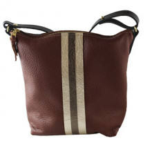 Graham Leather Crossbody w/layered stripes