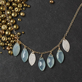 Chalcedony Marquise and Metal Necklace (n-b702)