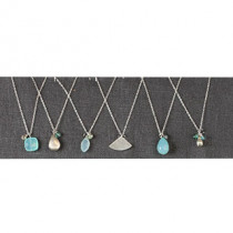 Set of 6 Blue and Metal Necklaces as shown