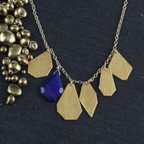 6 Crazy Cut Necklace: Lapis & Metal