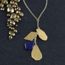 4 Crazy Cut Chain Necklace: Lapis/Metal