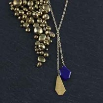 Crazy Cut Double Chain Necklace: Lapis & Metal