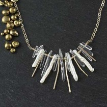Crystal, Hammered Wire & Biwa Pearl Cluster Necklace